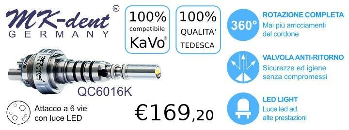 Attacco Rapido per Turbina a 6 vie compatibile KaVo Multiflex, con Led