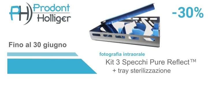 Kit 3 specchi per fotografia intraorale Pure Reflect, con tray per sterilizzazione